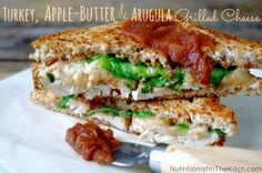 Turkey, Apple-Butter & Arugula Grilled Cheese (GF option!) via Nutritionist in the Kitch