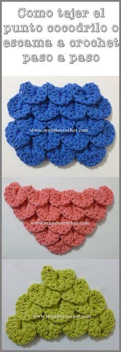 Como tejer el punto cocodrilo o escama a crochet o - Como empezar a hacer punto paso a paso ...