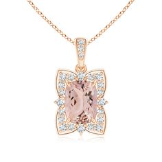 Redefine elegance with this morganite flower necklace pendant in 14k rose gold.