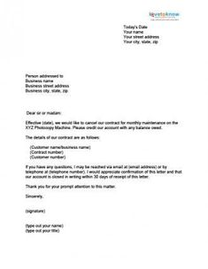 Sample Letter Of Cancellation Of Business Contract Justrandom
