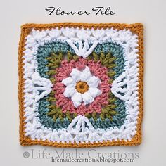 "Flower Tile square 7"" (pattern - http://www.ravelry.com/patterns/library/flower-tiles-afghan-2)"