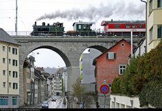 Santa claus train of association VDM (preservation steamlocomotive Muni): 1 Untitled Ed 3/3 at Schaffhausen, Switzerland by Richard Behrbohm