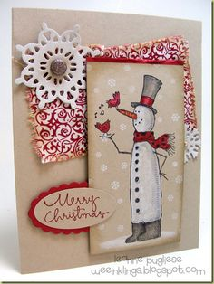 Snowman Card on Kraft {Really like this Snowman Stamp) (10.7.14)