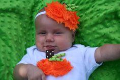Chiffon Pumpkin Headband, Halloween Headband, Baby Halloween Headband, Girls Headband, Halloween Hair Bow,