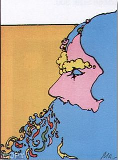 """Bluebeard by Peter Max Serigraph on Paper 14"""" x 10 1974"""