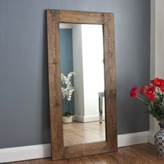 This stylish solid wood dark brown stained mirror would work in both a contemporary and more rustic setting. Featuring a handsome wide wooden frame with a beautiful dark stained frame, meaning they could work in many colour schemes. Large Wooden Mirror, Reclaimed Wood Mirror, Wood Framed Mirror, Diy Mirror, Mirrors With Wooden Frames, Large Mirrors, Rustic Mirrors, Modern Fall Decor, Mirror Inspiration