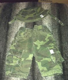 The Childrens Place Boys Shorts with Hat Camouflage Baby Sz 0-3 mths Spec 0089 #TheChildrensPlace