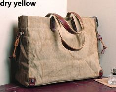 Handmade Leather Canvas Bag Canvas by HandmadeLeatherJenny, $52.99