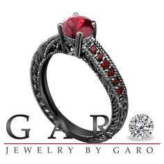 Vintage Style 14K Black Gold 0.65 Carat Certified Garnet Engagement Ring Pave Set Birthstone Handmade