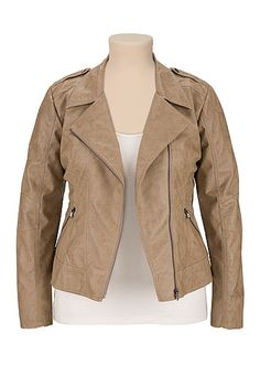 Cropped Asymmetrical plus size Moto Jacket (original price, $79) available at #Maurices