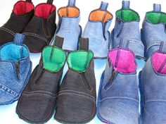 Denim Slippers of recycled jeans by INTOAdesign on Etsy