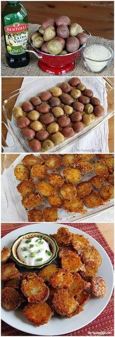 Easy Crispy Parmesan Garlic Roasted Baby Potatoes #babyfoodrecipes