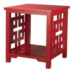 """Knot End Table, 24""""X22""""X22"""", RED by Home Decorators Collection. $139.00. 24""""H x 22""""W x 22""""D.. The Knot End Table features a clean, streamlined look that coordinates well with the entire Knot Collection. The intricate Asian inspired design of this end table brings an aesthetically pleasing charm to any decor. Perfect for displaying a vase or any other decorative arrangement. Smooth, lustrous finish. Constructed of poplar and MDF. Actual size is 24""""X22""""X22"""""""