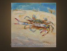 Items similar to ORIGINAL blue crab painting Beach Ocean Bay X.thomas art X on Etsy Crab Painting, Painting & Drawing, Painting Canvas, Crab Art, Fish Art, Crab Decor, Watercolor Jellyfish, Sea Turtle Art, Louisiana Art
