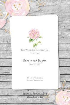 Wedding Program Template Floral Hydrangea Pink