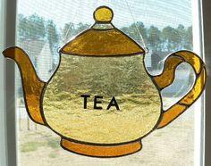 stained glass  Amber Tea Pot  suncatcher. $27.00, via Etsy.