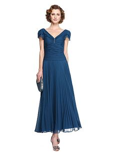 3aad563f28e   99.99  Sheath   Column V Neck Tea Length Chiffon Mother of the Bride Dress  with Pleats by LAN TING BRIDE®