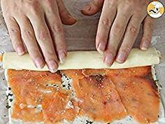Puff pastry rolls with salmon basil, Recipe Ptitchef Puff Pastry Appetizers, Seafood Appetizers, Holiday Appetizers, Appetizer Recipes, Holiday Recipes, Basil Recipes, Salmon Recipes, Food Platters, Wraps