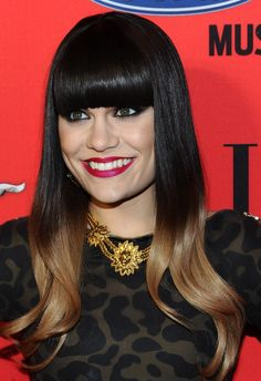 Jessie J Long Straight Cut with Bangs - Jessie J. hit the red carpet at the annual 'Elle' Women in Music event wearing her sleek ombre tresses with long blunt bangs. Jessie J, Long Hair Cuts Straight, Balayage Straight Hair, Short Hair, Balayage Hair, Celebrity Wigs, Celebrity Hairstyles, Black To Brown Ombre Hair, Black Hair