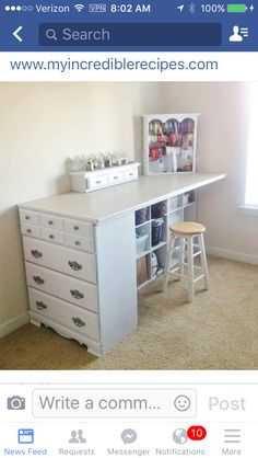 28 awesome DIY furniture makeover ideas - crafting station from the old dresser # . - 28 awesome DIY furniture makeover ideas – craft station from the old dresser - Furniture Projects, Pallet Furniture, Furniture Makeover, Home Projects, Bedroom Furniture, Diy Bedroom, Dresser Furniture, Cheap Furniture, Luxury Furniture