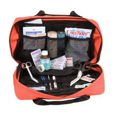E.M.S. TRAUMA BAG - Blue or Orange Made of Heavy-Duty Water Resistant 1000D Polyester 5 Large Interior Panels and Mesh Pockets Elastic Section Instrument Divider and Oxygen Bottle Loops Sectioned Pock