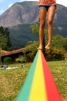 Slackline, bitches. It's so fun! And I think I am going to buy one for the summer :D  www.slacklinegirls.com