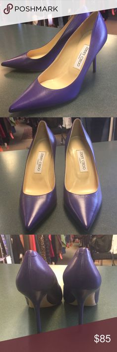 Purple Leather Jimmy Choo Heels Beautiful purple leather heels with leather inside and out. Never worn. 3.5 inch heel. Offers welcome! Jimmy Choo Shoes Heels