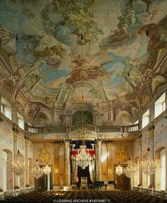 """Great hall (""""Ordenssaal"""") of Schloss Ludwigsburg, palace of the Ducal family (later kings) of Wuerttemberg. Mural """"Glorification of Minerva"""" by Scotti and Baroffio, 1731."""