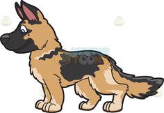 A cute German Shepherd pup :  A puppy with black and golden brown fur standing pink ears smiles with sealed lips  The post A cute German Shepherd pup appeared first on VectorToons.com.