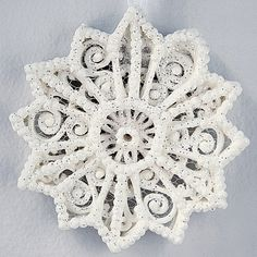 Ornament Snowflake White Unique Hand Piped Filigree Design Perfect for A Winter Wedding, Christmas and More