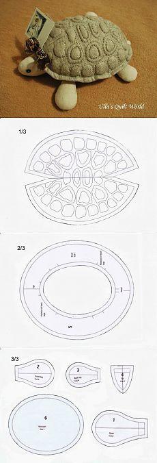 modello della tartaruga.  giocattoli di stoffa hanno bisogno senza disegnare sufficientemente densa.  Disegno sul guscio da cucire mani che creano sollievo.