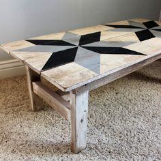 Wood Profits Image of Rhode Island Star Coffee Table Farmhouse Style Coffee Table, Rustic Coffee Tables, Barn Quilt Designs, Barn Quilt Patterns, Wood Crafts Furniture, Painted Furniture, Outdoor Furniture, Woodworking Patterns, Woodworking Plans