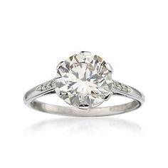 Love vintage rings like this one. C.1935 Vintage 2.61 Carat British Hallmark Diamond Solitaire Engagement Ring In Platinum.