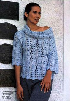 Crochet Sweater - Free Crochet Diagram - See http://kruchcom.ru/wp-content/uploads/2010/02/Scan-090307-0018_0001.jpg For Diagram - (kruchcom)
