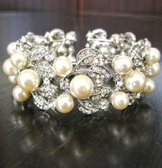 Bridal Bracelet  Swarovski pearls and rhinestone / by IreneJewelry, $46.00