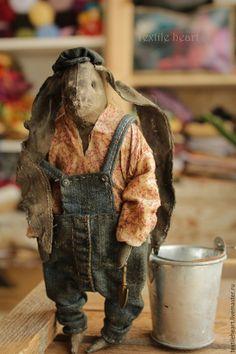 Купить Саймон садовник - комбинированный, заяц игрушка, заяц, заяц текстильный, кролик, пасхальный заяц