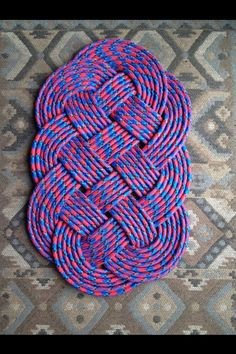 Rope knot doormat made from bungee cords