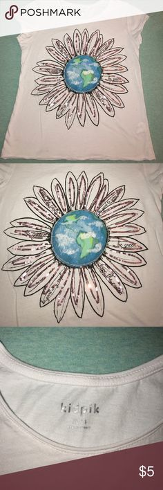 Girls Earth Tee Super cute tee by Kidpik size XL 14 but I would say this is closer to 10-12 their clothing runs smaller. Worn and washed once-small stain on back bottom hem. Sequins are rose gold. kidpik Shirts & Tops Tees - Short Sleeve