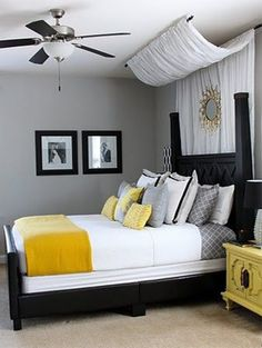 romantic bedroom with yellow bedspread - Bedroom Ideas For Couples