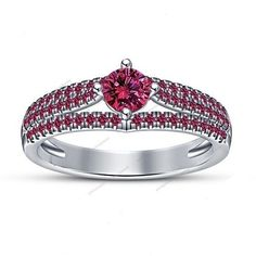 Round Pink Sapphire 925 Silver Engagement Ring For Women's 14K White Gold Finish…
