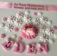 PERSONALISED BABY GIRL CHRISTENING SHOWER CAKE TOPPER WITH RIBBON DECORATION