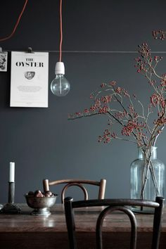 Wall color, wood tones, simple vase with branches and candlestick. Inspiration for dining room makeover. Scandinavian Interior, Scandinavian Style, Swedish Style, Room Inspiration, Interior Inspiration, Design Inspiration, Interior Styling, Interior Design, Simple Interior