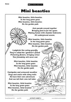 Use this rhyme to discuss different minibeasts and their habitats with the children. It can also be read before a minibeast hunt, or role-play session, where children try to move like different insects. Minibeast Art, Science Poems, Minibeasts Eyfs, Summer Poems, Teaching Activities, English Activities, Spring Activities, Early Years Teaching, Primary Teaching
