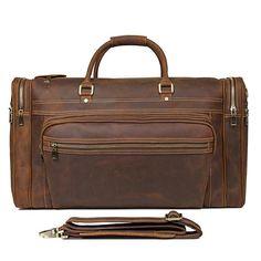 8153d4fb63d3 Cowhide Leather Tote Travel Bag Large Duffel Business Laptop Bag