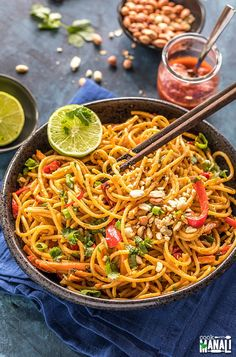 Instant Pot Thai Peanut Noodles - easy vegetarian meal which gets done in less than 30 minutes! Packed with flavors & perfect for those busy days!