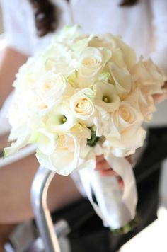 Beautiful Hand Tied Bouquet Comprised Of: Cream Roses, White Mini Cala Lilies + White Stephanotis>>>>