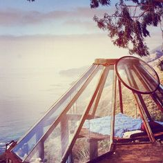 imagine the stars! Enjoying the Ocean view from your bedroom.Big Sur Glass Roof Yurt Built in 1976 Glass Roof, Glass Domes, The Places Youll Go, Places To Visit, Dome Greenhouse, Big Sur California, Central California, Mykonos, My Dream Home