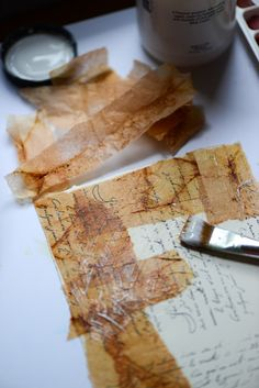 Love how you can see the paper through the teabags. Will be giving this a go! Patina Moon: Mixed Media / Crafts Tea bags!