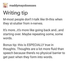 Another way to write stuttering from nerves.