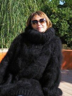 Mohair Yarn, Mohair Sweater, Turtleneck, Feeling Special, Large Black, Fur Coat, Long Hair Styles, Wool, Natural